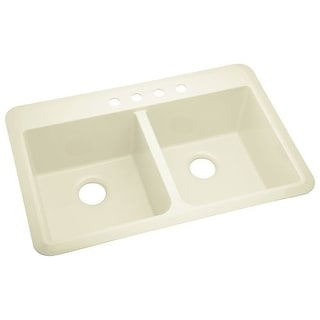 "Sterling 1042-4 Slope 33"" Double Basin Drop In or Undermount Acrylic Kitchen Sin"