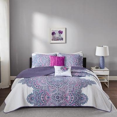 Intelligent Design Katarina Purple Coverlet Set