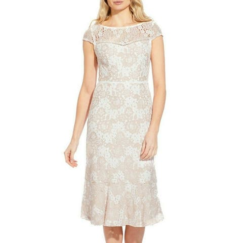Adrianna Papell Women's Dress Pink Size 6 Sheath Floral Lace Illusion