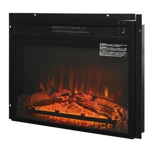 """Link to HOMCOM Recessed Electric Fireplace Heater with Realistic Log Flames, 23"""", 1400W, Black Similar Items in Fireplaces"""