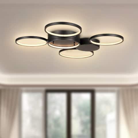 ExBrite Semi-Flush Mount Integrated LED Ceiling Light Fixtures Black Rings Pendant