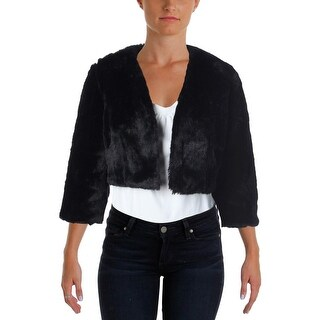 SLNY Womens Faux Fur Open Front Bolero