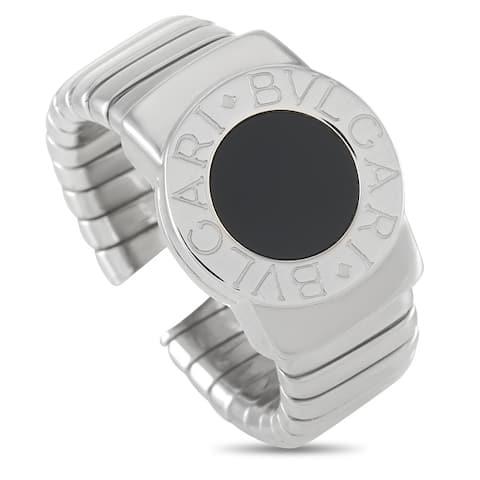 Bvlgari White Gold Onyx Round Ring Size 6.5
