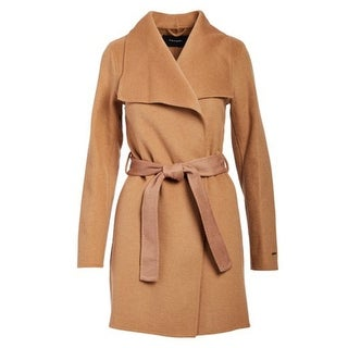 T Tahari Camel Double Face Wool Belted Wrap Coat