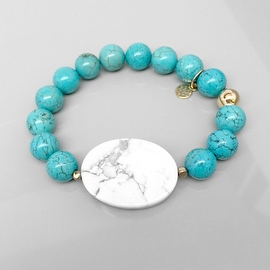 Turquoise Magnesite 'Eye Candy' stretch bracelet 14k over Sterling Silver