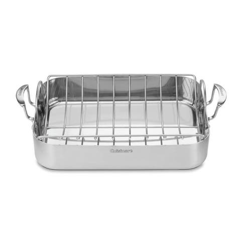 """Cuisinart MultiClad Pro Stainless 16"""" Rectangular Roaster with Rack"""