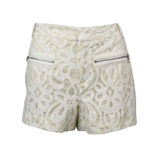 RACHEL Rachel Roy Women's Lace Zipper Pocket Shorts - Ivory - 10