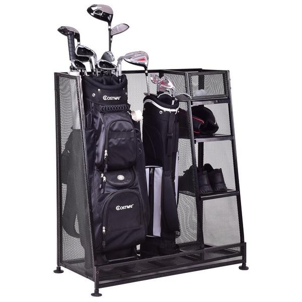 Goplus Dual Golf Organizer Storage Rack Fit 1 2 Bags Clubs Accessories Black