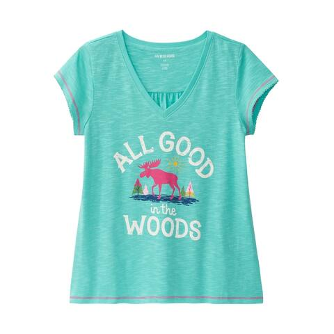 Little Blue House by Hatley Womens Glamping Sleep Shirt - Aqua Blue Pajama Top