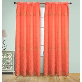 Josephine Embroidery Rod Pocket Panel with Attached Valence and Backing, Coral-Gold, 55x90 Inches