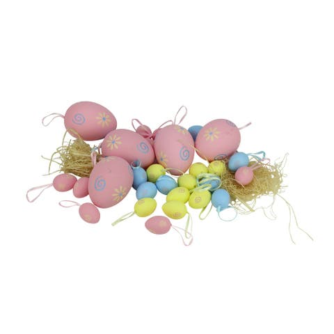 """Set of 29 Pastel Pink and Yellow Spring Easter Egg Ornaments 3.25"""""""