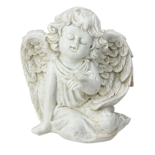 "6.5"" Ivory Sitting Cherub Angel with Bird Patio Garden Statue"