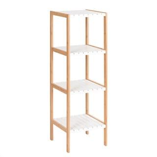4-Tier Bamboo Utility Shelves Domestic Storage Freestanding Units Shelf