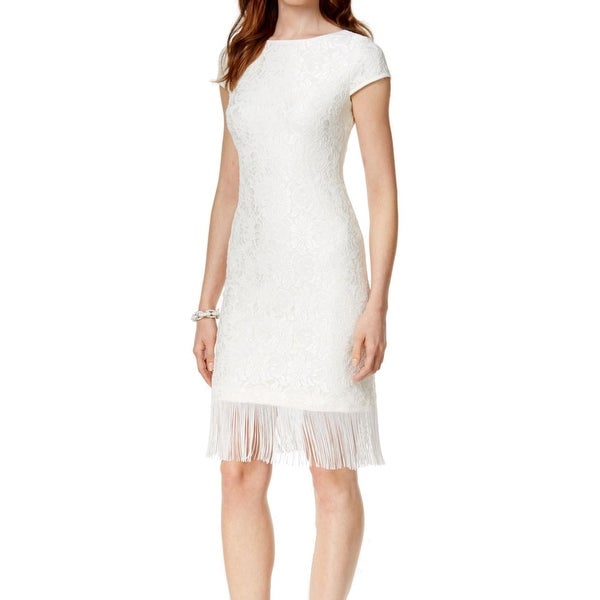 a2dbf210d8e55 Shop Jessica Howard NEW White Ivory Womens Size 14 Fringe Hem Sheath Dress  - Free Shipping On Orders Over $45 - Overstock - 18306549