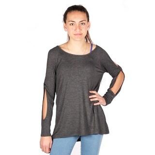 Lori & Jane Girls Charcoal Cutout Long Sleeve Trendy Casual Tunic Top
