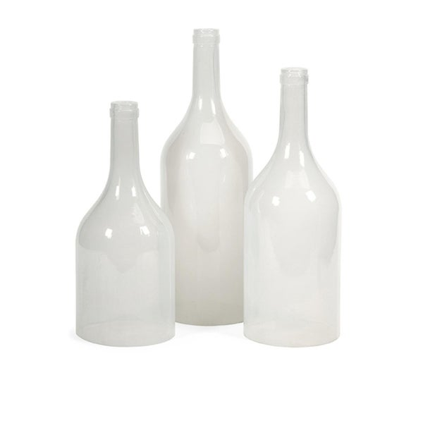 """Set of 3 Divinity Milky White Tinted Decorative Glass Bottle Cloches 17.75"""" - N/A"""
