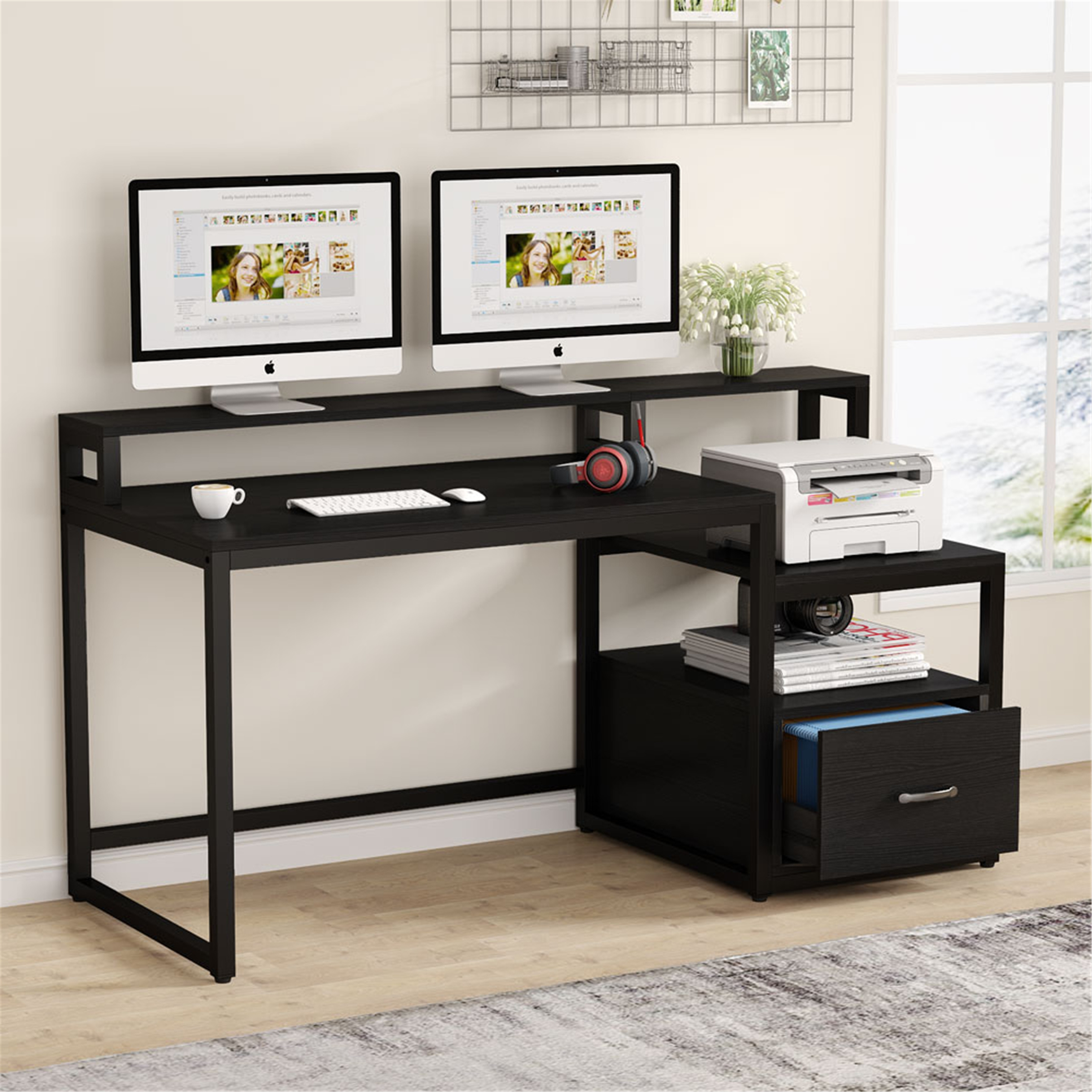 33 Inches Computer Desk with File Drawer and Storage Shelves
