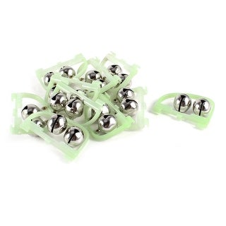 Unique Bargains 10 Pcs Dual Bite Alert Balls Luminous Fishing Rod Alarm Bell Green Silver Tone