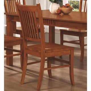 Mission Style Wooden Side Chair, Brown, Set of 2