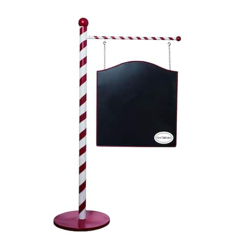 "56"" Red and White Christmas Chalkboard Sign Stand Decor"