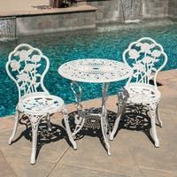 Weather Resistant Outdoor 3 Piece Patio Set Rose Design Table 2 Chairs White