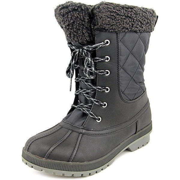 London Fog Swanley Women Round Toe Synthetic Black Winter Boot