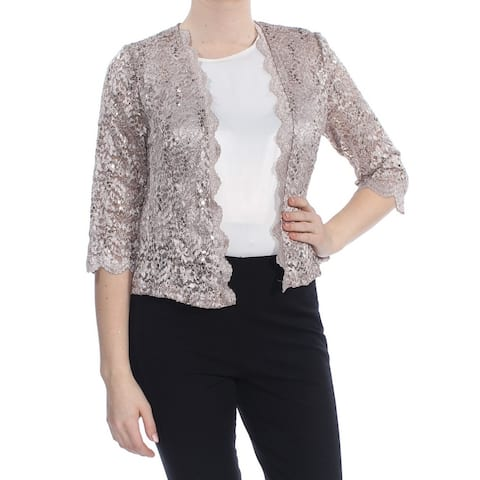 ALEX EVENINGS Womens Beige Sequin Lace Evening Jacket Size 10