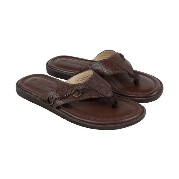 15f5034733ded Tommy Bahama Belize Vintage Mens Brown Leather Flip Flops Sandals Shoes