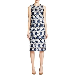 DKNY Womens Cocktail Dress Embroidered Sleeveless