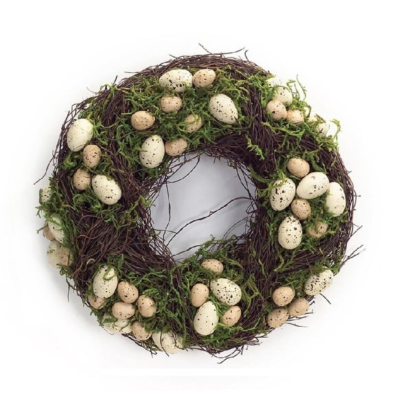Pack of 2 Easter and Springtime Speckled Tan Eggs with Moss Wreaths 15""