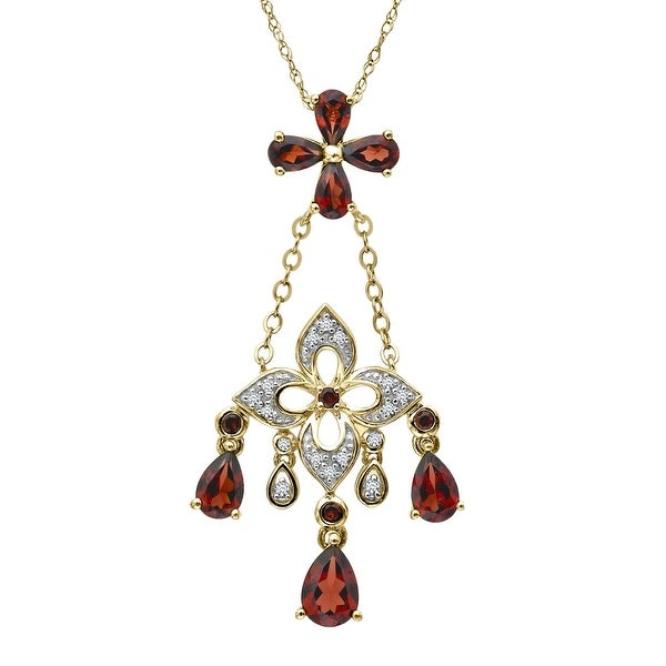 3 1/4 ct Natural Garnet Chandelier Pendant with Diamonds in 14K Gold - Red