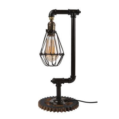 Vintage Industrial Desk Lamp Steampunk Pipe Table Lamp w/ Cage Shade