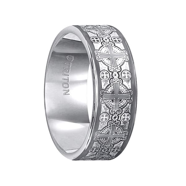 FERDINAND Flat Pipe Cut White Tungsten Carbide Ring with Laser Cross Pattern Design by Triton Rings - 8 mm