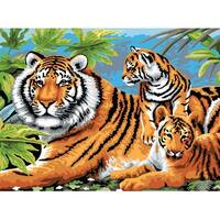 """Junior Large Paint By Number Kit 15.25""""X11.25""""-Tiger & Cubs"""