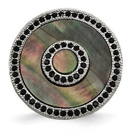 Chisel Stainless Steel Polished Black Mother of Pearl and Crystal Ring