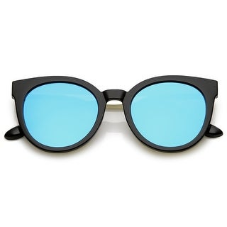 Classic Horn Rimmed Cat Eye Sunglasses Round Color Mirrored Flat Lens 53Mm