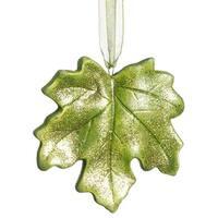 "3.5"" Princess Garden Green Maple Leaf Glitter Christmas Ornament"