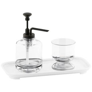 Kohler K-72574 Artifacts Freestanding Soap Dispenser, Tumbler and Ceramic Tray