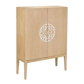 Sterling Industries 150-026 2 Doors Wood Cabinet with Resin Accent - savannah natural
