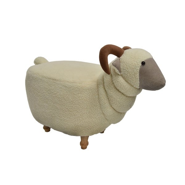 Sheep Shape Wooden Ottoman with Fabric Upholstery, Cream and Brown
