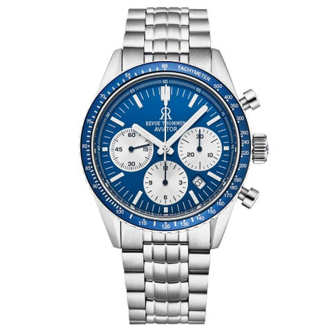 Revue Thommen Men's 17000.6135 'Aviator' Blue Dial Stainless Steel Chronograph Automatic Watch