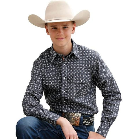 Cinch Western Shirt Boys Long Sleeve Marble Snap Front - Gray