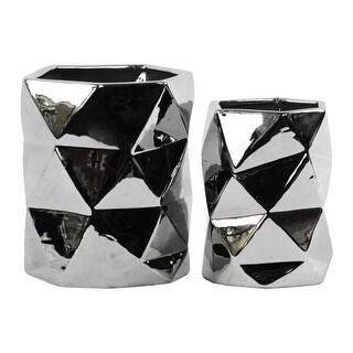 Hexagonal Ceramic Vase With Geometric Pattern, Set Of 2, Silver