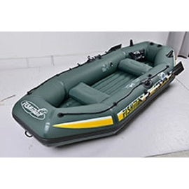 "116"" Green and Yellow ""Fishman II 400"" Three Person Inflatable Boat Set"