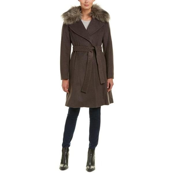 Elie Tahari Women's Flora Brown Wool Coat. Opens flyout.