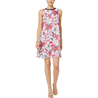 SLNY Womens Casual Dress Floral-Print Contrast Collar - 16