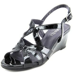 Vaneli Miriam Women Open Toe Patent Leather Black Wedge Heel