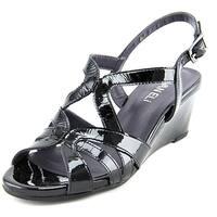 Vaneli Miriam Women  Open Toe Patent Leather Black Wedge Sandal