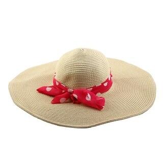 Travel Straw Braid Bowknot Decor Wide Floppy Brim Summer Beach Cap Sun Hat Beige
