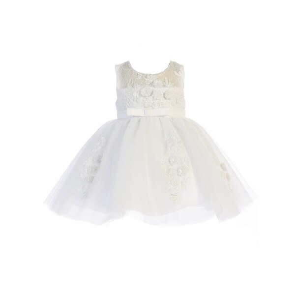 f617a636533 Shop Baby Girls White Illusion Neckline Bow Satin Sash Flower Girl Dress -  Free Shipping Today - Overstock - 23578258